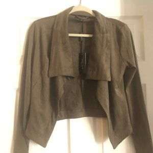 NWT-NOT WORN Green Faux Suede Slouchy Moto Jacket